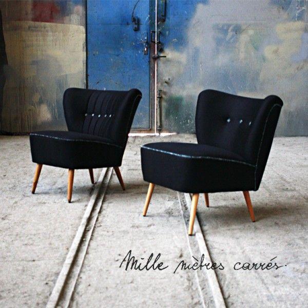 fauteuil cocktail vintage des annes 50 noir mille m2 - Fauteuil Cocktail Vintage