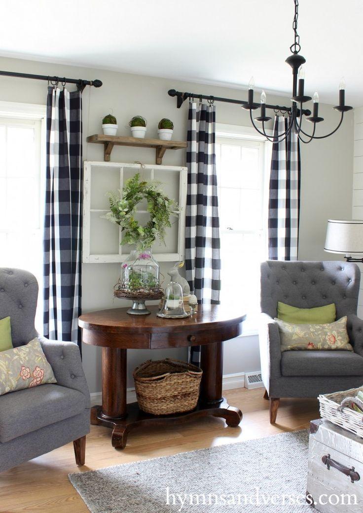 2016 Spring Home Tour Farmhouse Living RoomsFarm CurtainsRed Curtains RoomFarmhouse