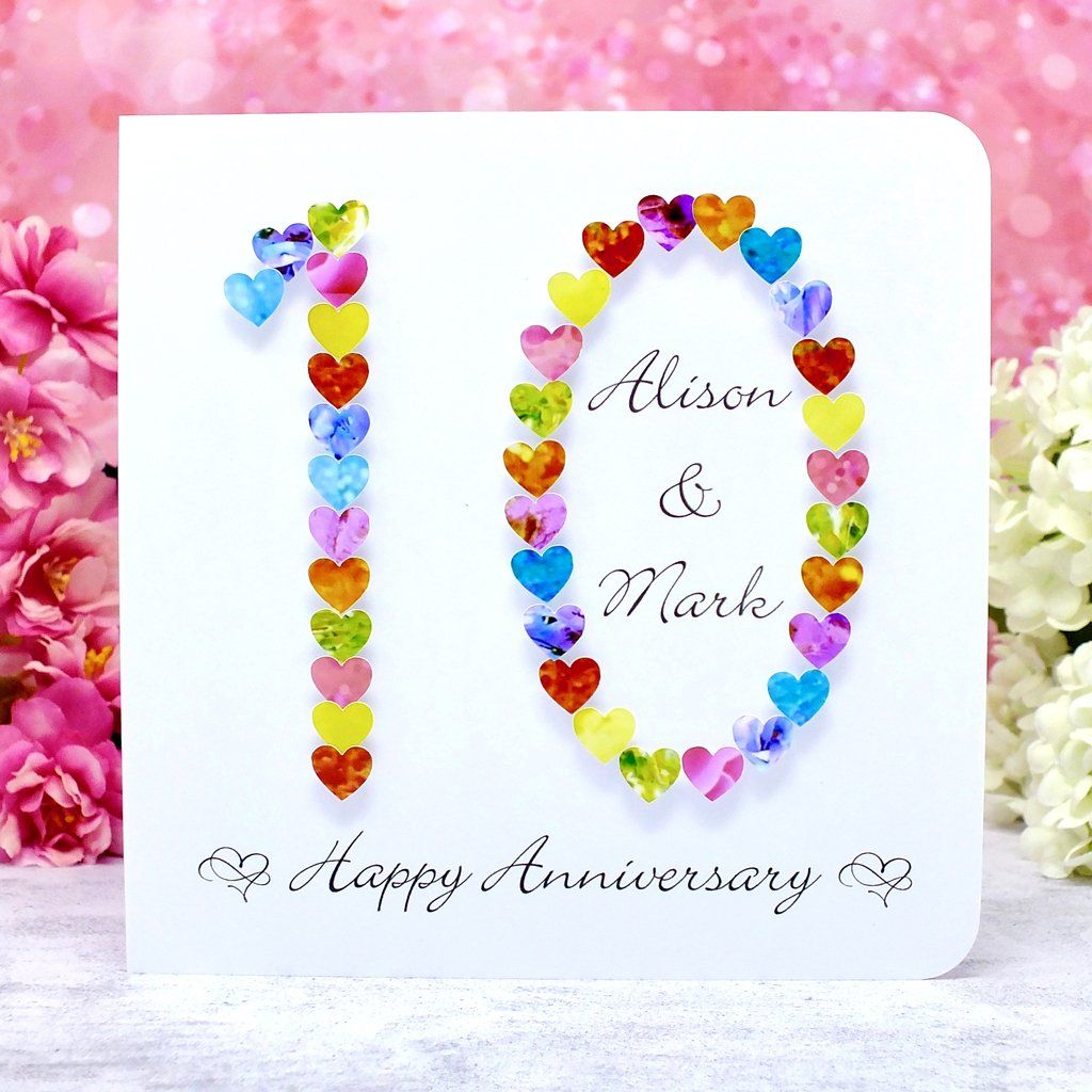 10th Wedding Anniversary Card Hearts Personalised Anniversary Cards Handmade Anniversary Cards Anniversary Cards For Husband