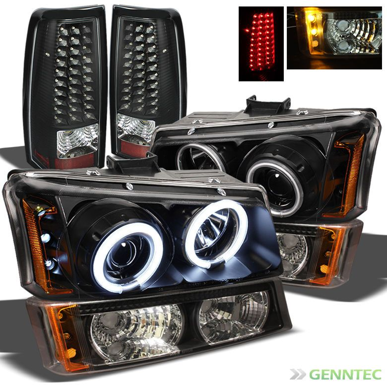 For 03 07 Silverado Black Ccfl Projector Headlights Set Led Tail Lights Led Tail Lights Silverado Projector Headlights