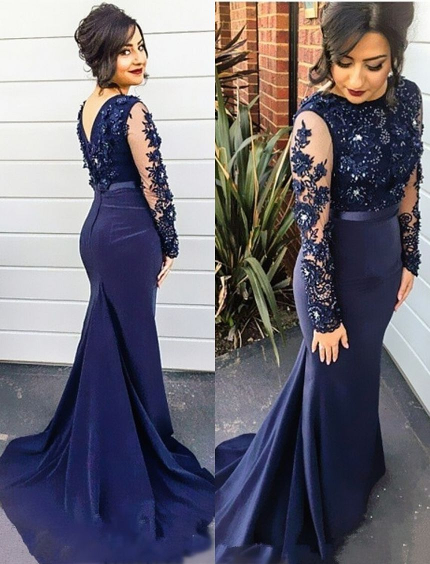 Navy blue lace mermaid prom dress with long sleeveslong satin