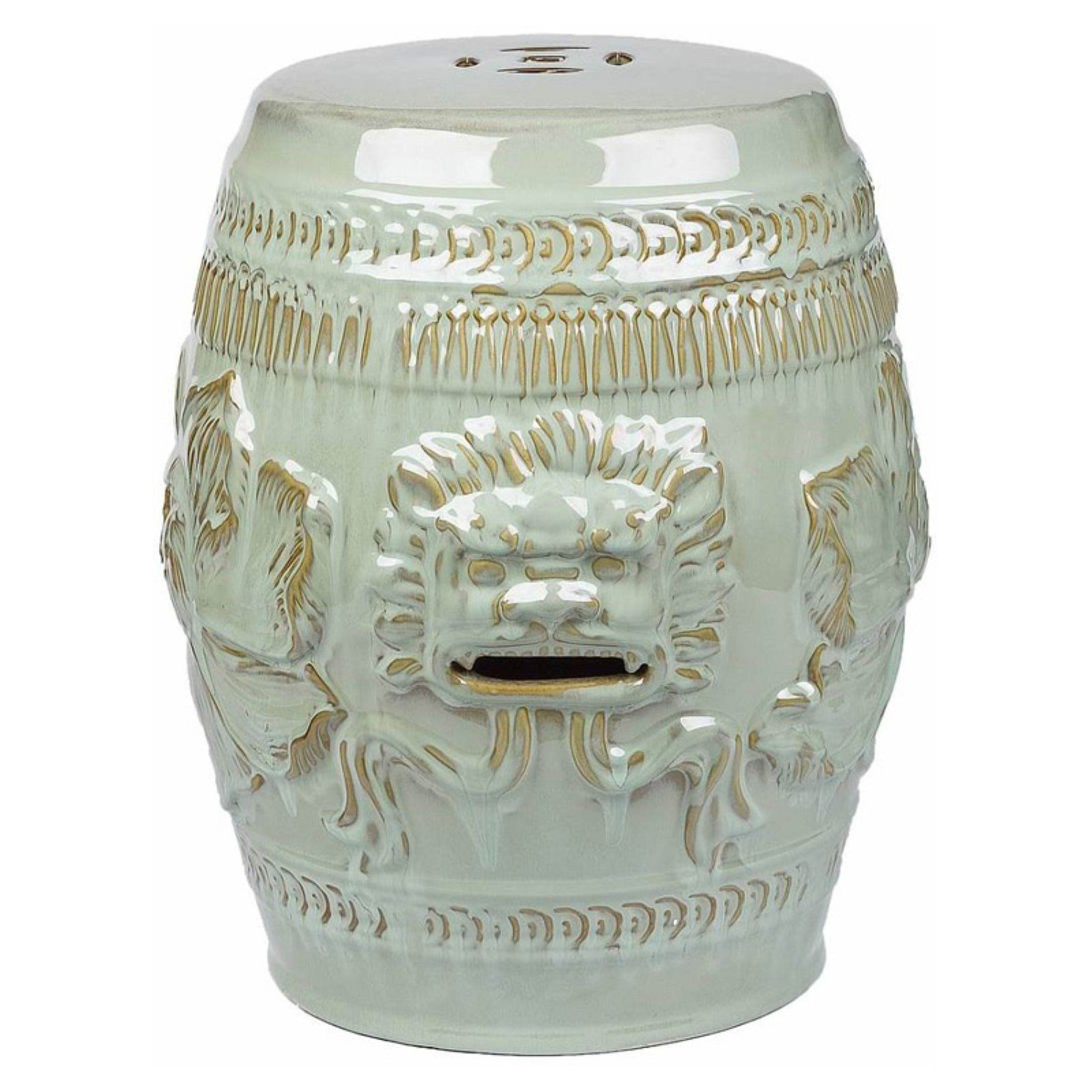 Marvelous Outdoor Abbyson Chinese Lion Garden Stool Antique Teal Pabps2019 Chair Design Images Pabps2019Com