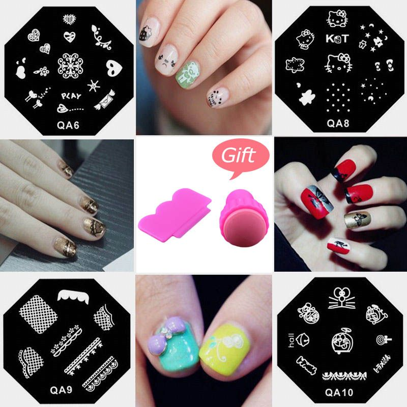 Nail Art Stamping Plantilla Plantillas Para Las Uñas de Manicura de ...