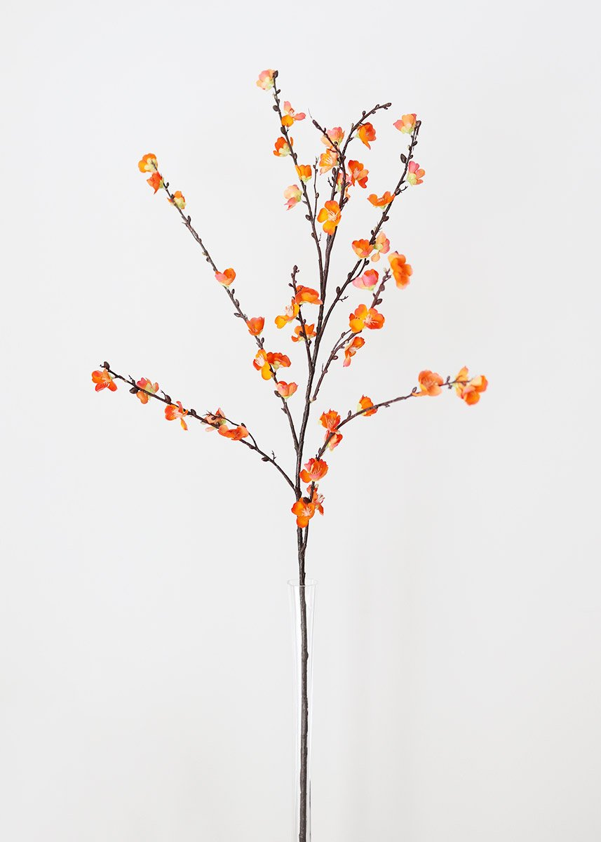 Orange Cherry Blossom Branch Artificial Spring Flowers Afloral Com Discount Silk Flowers Sakura Cherry Blossom Artificial Flowers And Plants