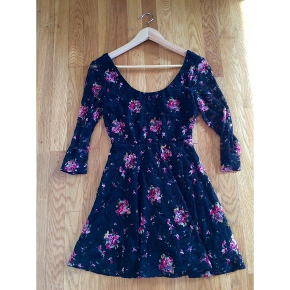 Dress Black, lace dress with floral print. Never been worn. Dresses