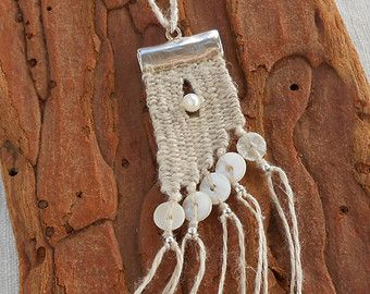 Sea colors Hand woven mini Tapestry Necklace by manufabrica