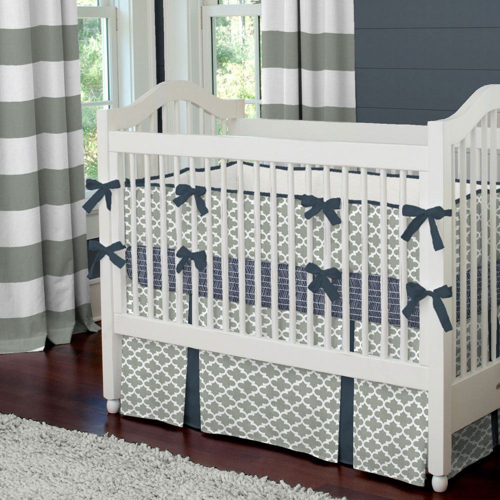 Navy And Gray Quatrefoil Crib Bedding Carousel Designs This Modern Yet Clic Design Features Our Cloud Accented With Rich Blue