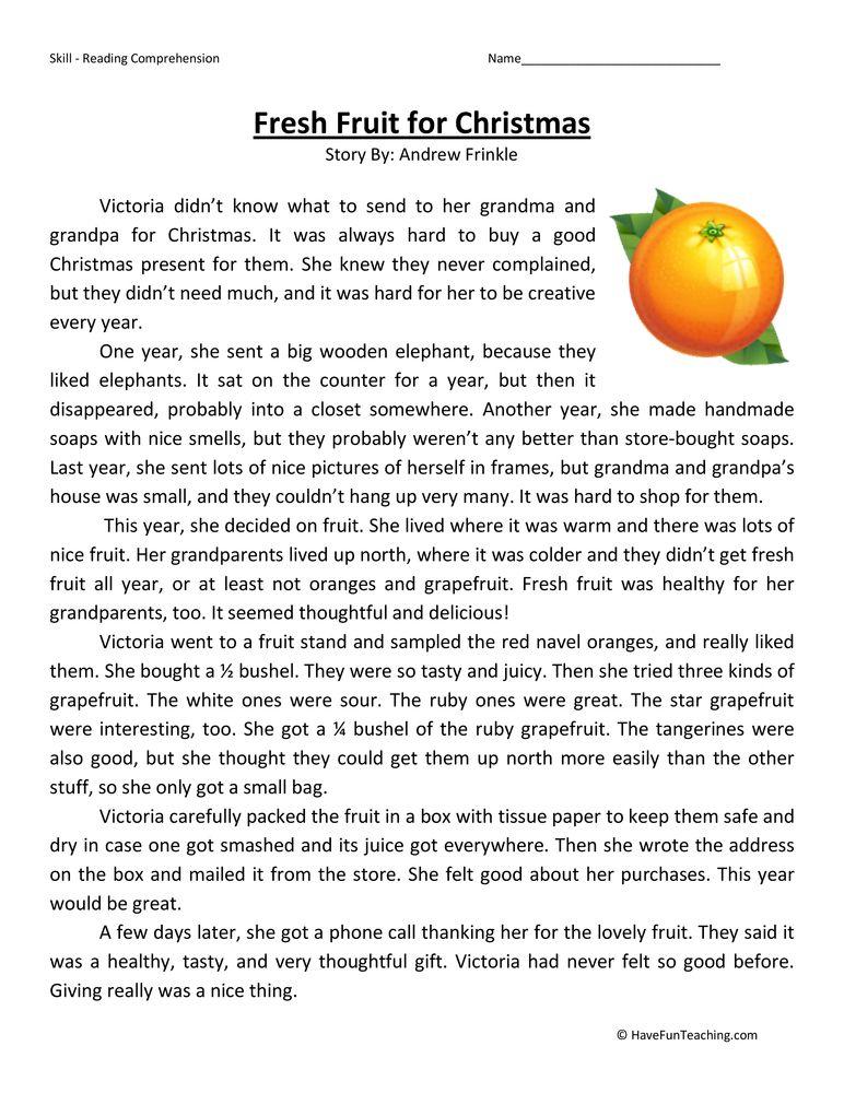 Fresh Fruit for Christmas Reading Comprehension