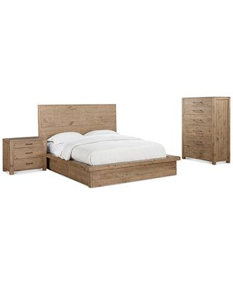Abilene Storage Platform Bedroom Furniture, 3-Pc. Bedroom Set (King ...
