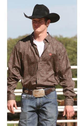 15abbf33 Men's Brown Cinch Weave Print Long Sleeve Western Clothing | Western ...