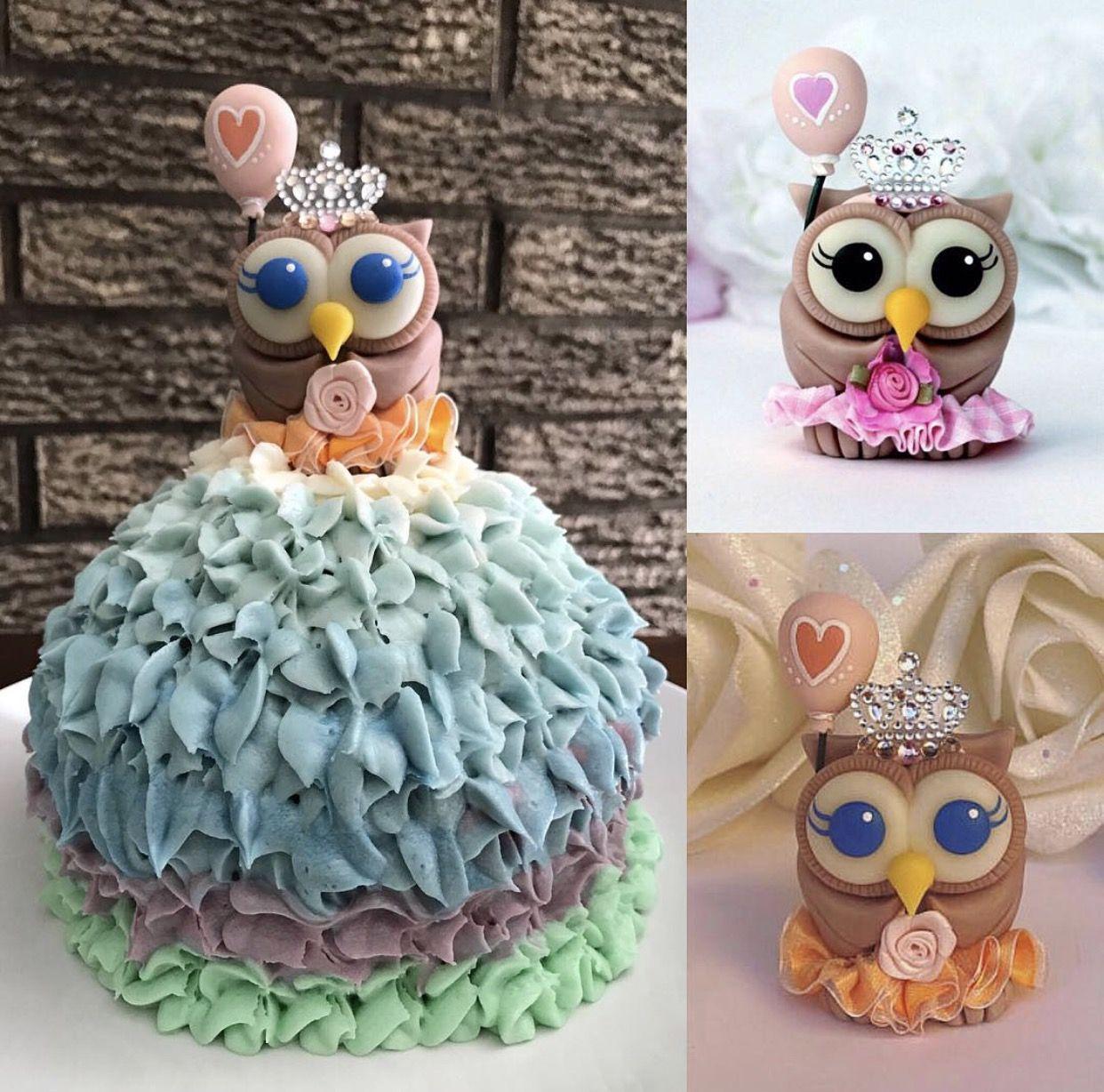 Baby Girl Owl Birthday Cake Topper First Birthday Cake Topper