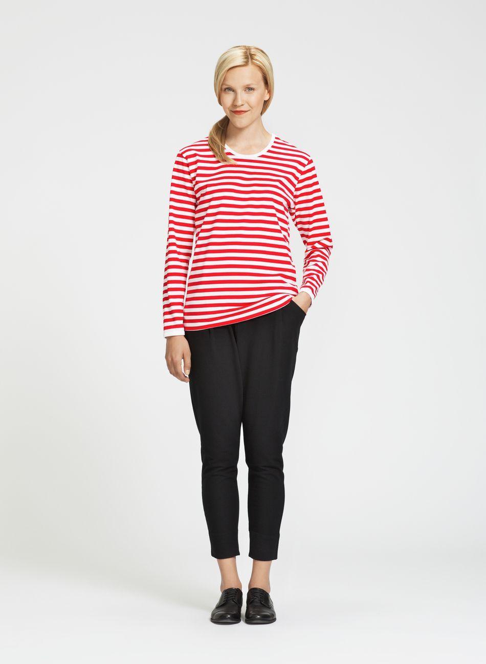 Pitkähiha (valkoinen, punainen) |Vaatteet, Naiset, Puserot ja t-paidat | Marimekko