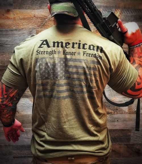 Mil Spec  Green is part of Mens tshirts - Disciples of Iron Men'sMilitary Flag Tee in Green  Since you loved the original so much, we decided to expand the line in the military colors