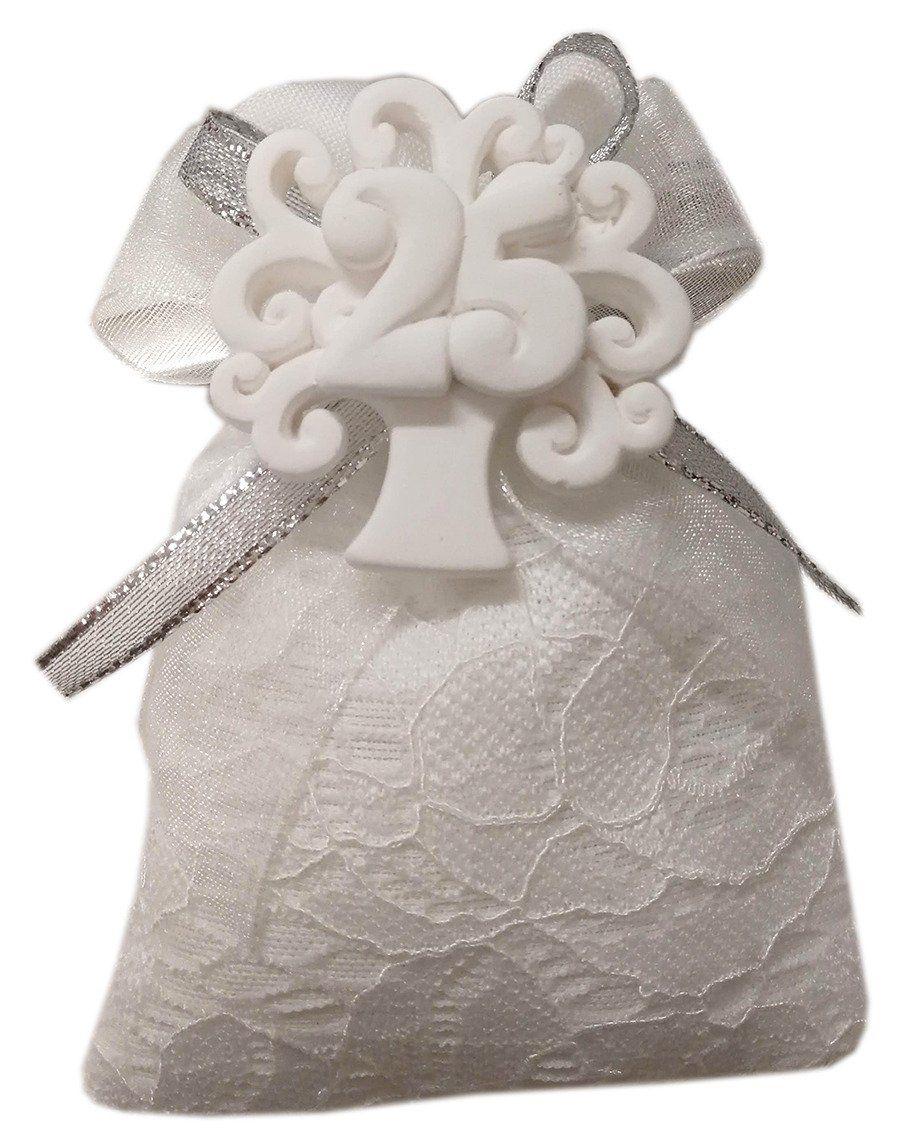 Bomboniera Nozze Argento Gessetto 25 Anni Di Matrimonio Confezionatura Con Portaconfetti Floreale A Rilievo E Nas Nozze Bomboniera Anniversario Di Matrimonio