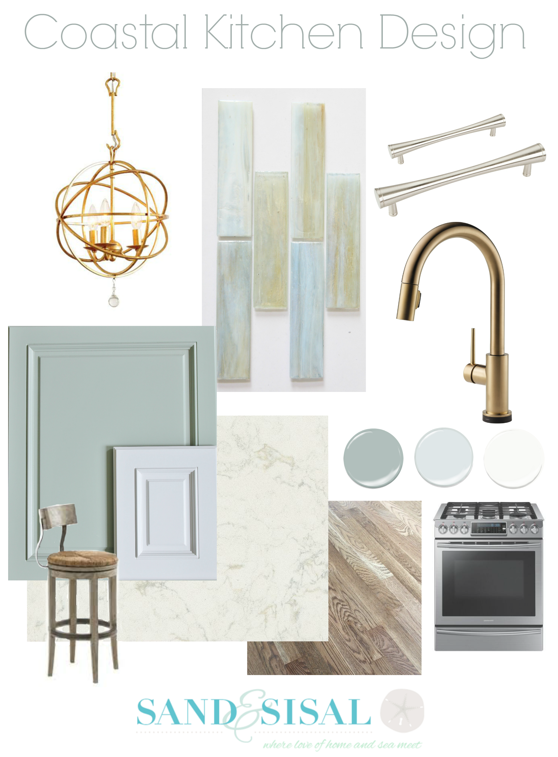 Our Coastal Kitchen Design Board | Kitchen design, Coastal and Classy