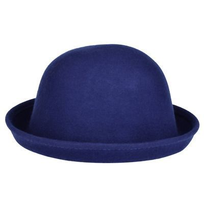 18ea384c40f691 Vbiger Bowler Hat Fedora Winter Roll-up Brim Derby Hats for Women Royal  Blue #HatsForWomenDerby