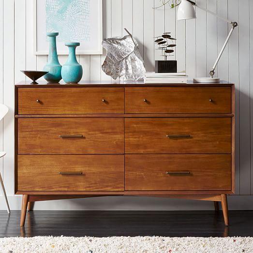 Mid Century 6 Drawer Dresser, Acorn