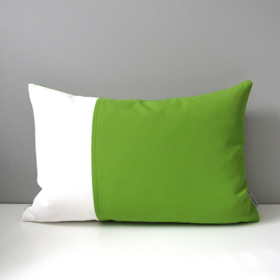 Modern Green Outdoor Pillow Cover Decorative Lime Green White