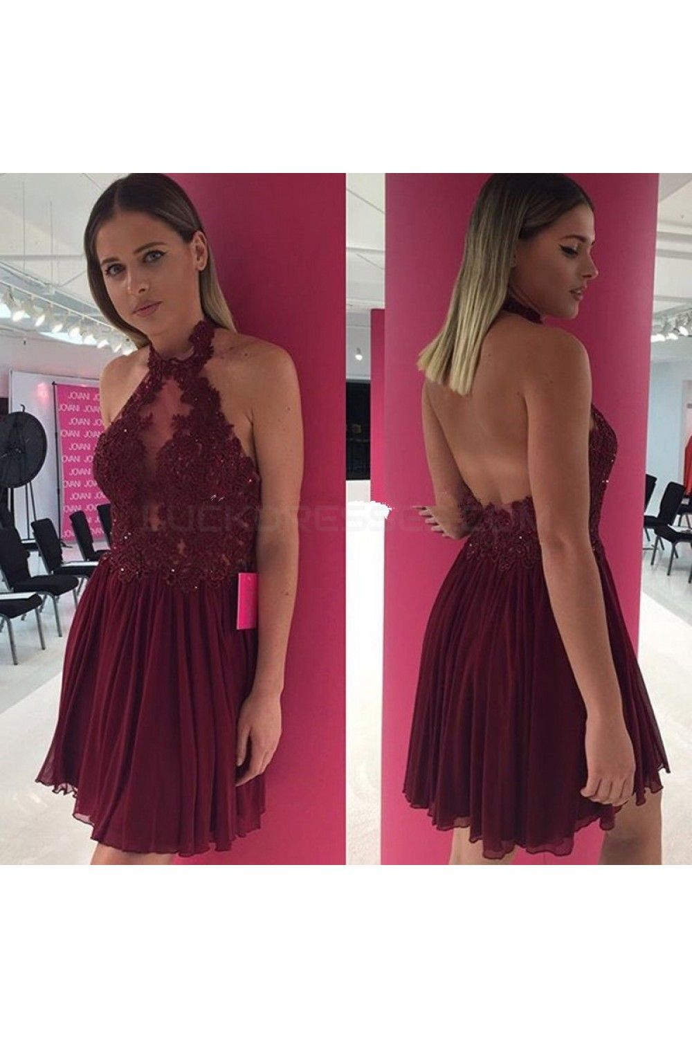 Aline halter lace chiffon short prom homecoming cocktail graduation
