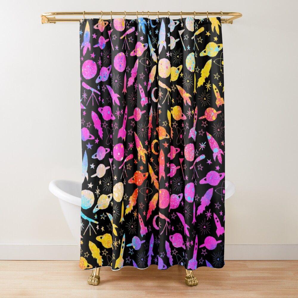 Rainbow Space Galaxy Splash Shower Curtain By Digitalpie In 2020 Curtains Home Decor Bedding Shower Curtain