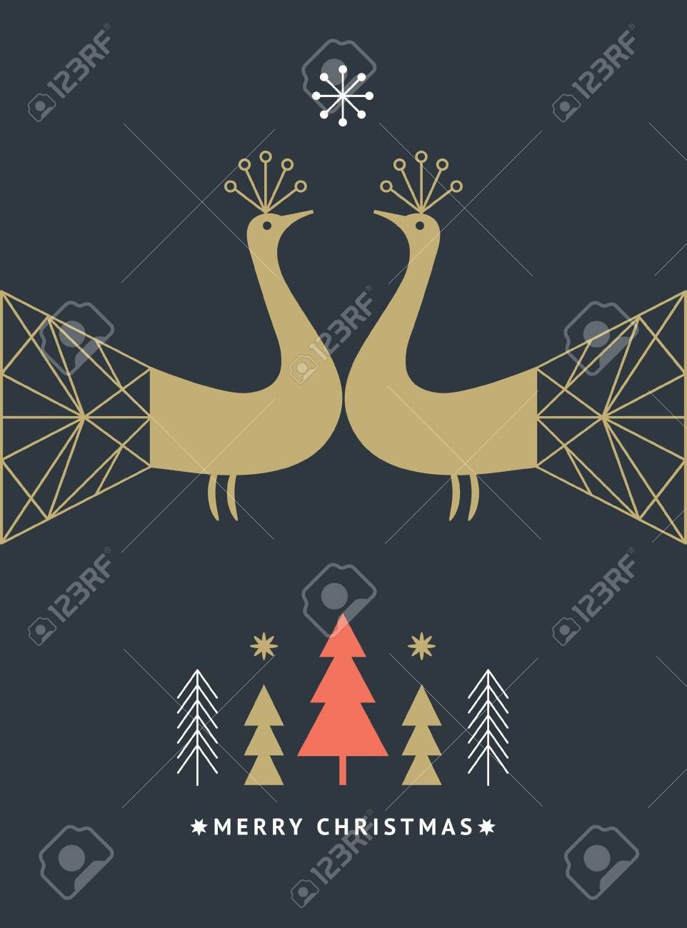 Greeting card Two fairy birds with big tails in geometric style