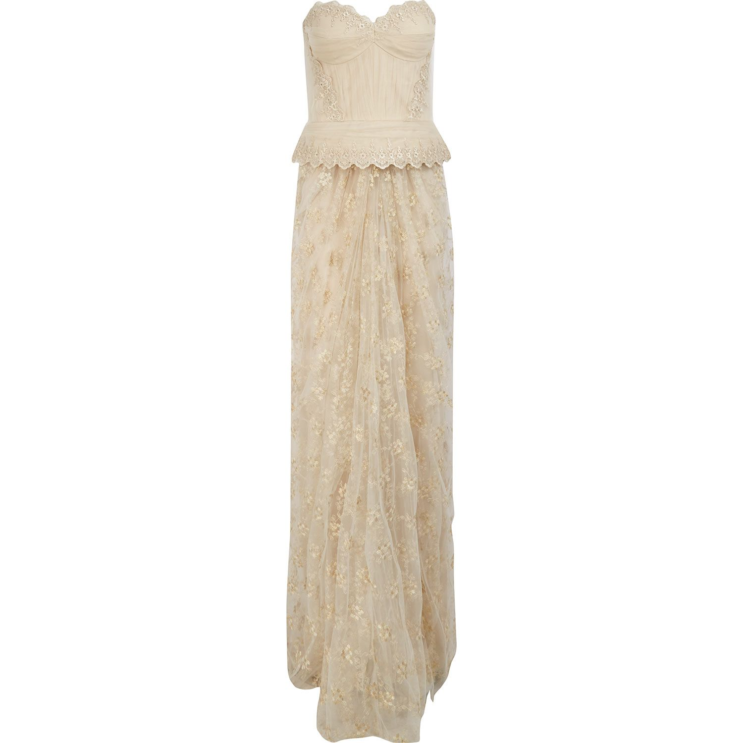 Vincent Mignon Cream Emroidered Evening Gown