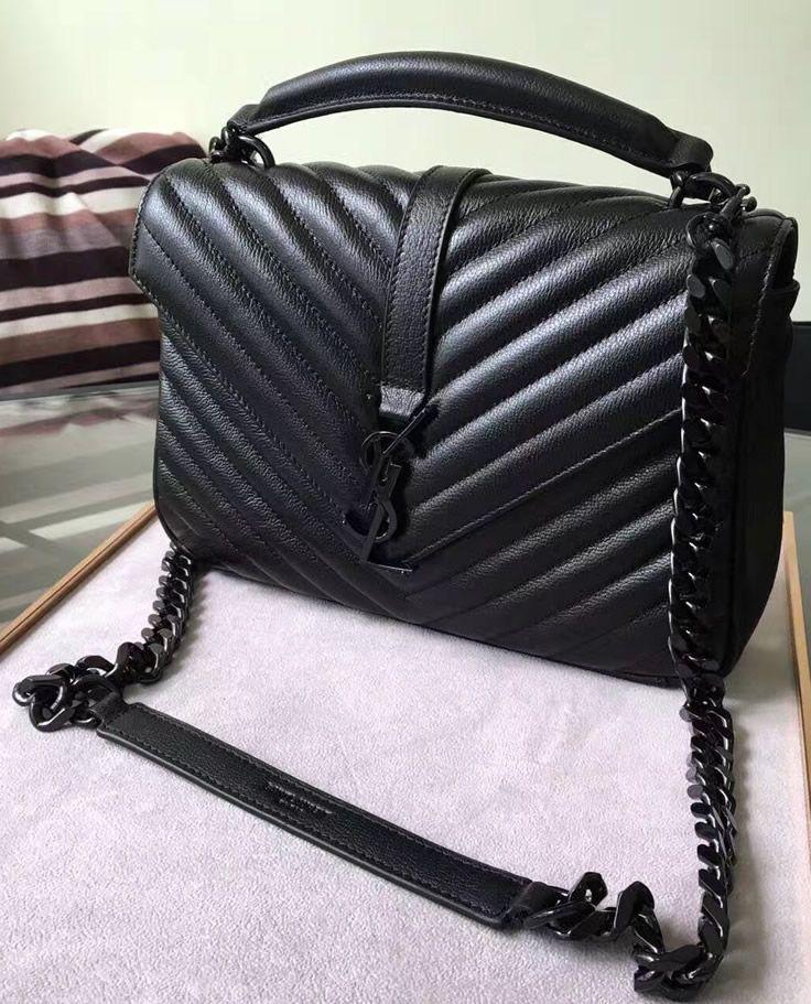 Saint Laurent Classic Medium College Monogram Bag in Black Malelasse Leather  with Black-toned Hardware 81ddce3b2f883