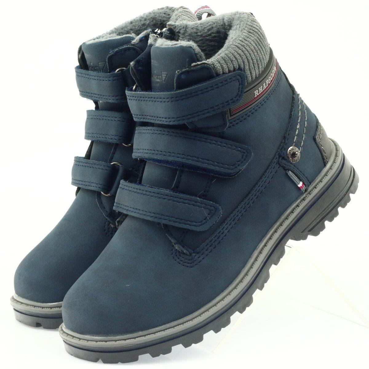 American Club American Kozaki Trzewiki Buty Zimowe 708121 Szare Granatowe Hiking Boots Timberland Boots Boots