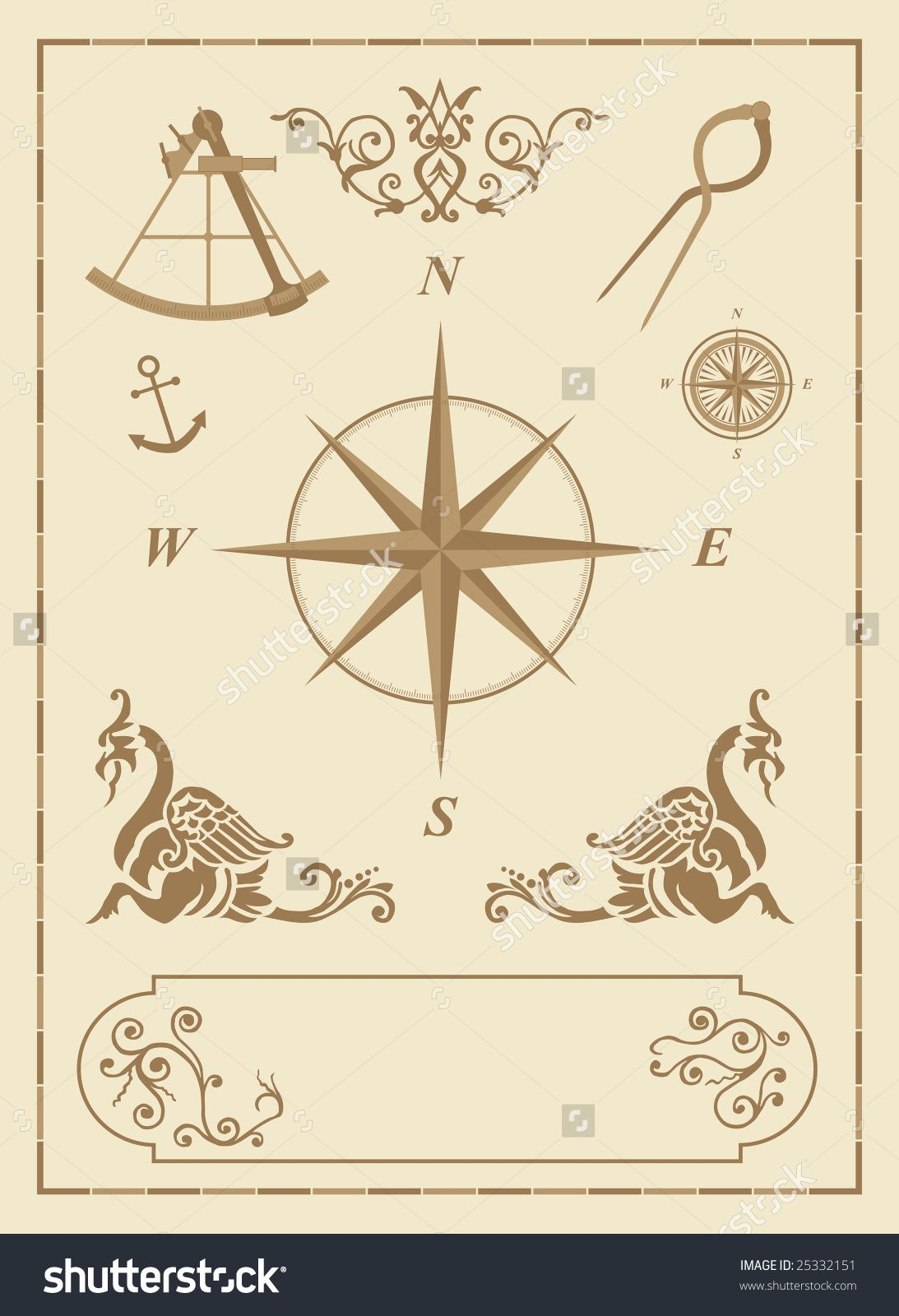 Stock vector set of old nautical symbols and icons with vintage map stock vector set of old nautical symbols and gumiabroncs Images