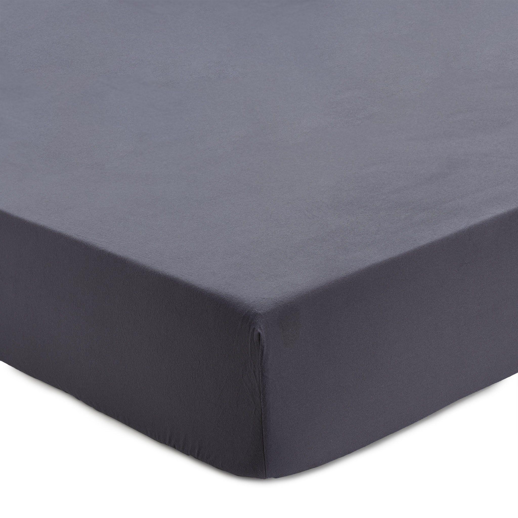 Flanell Spannbettlaken Montrose Grau 200x200 Cm Products In