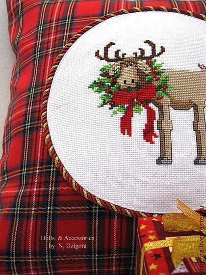 Лось и Рождество. Декоративная подушка (наволочка) - декоративная подушка