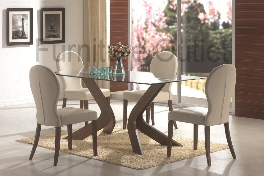Furniture Outlet Rectangle Glass Top Dining Table Set Upholstered