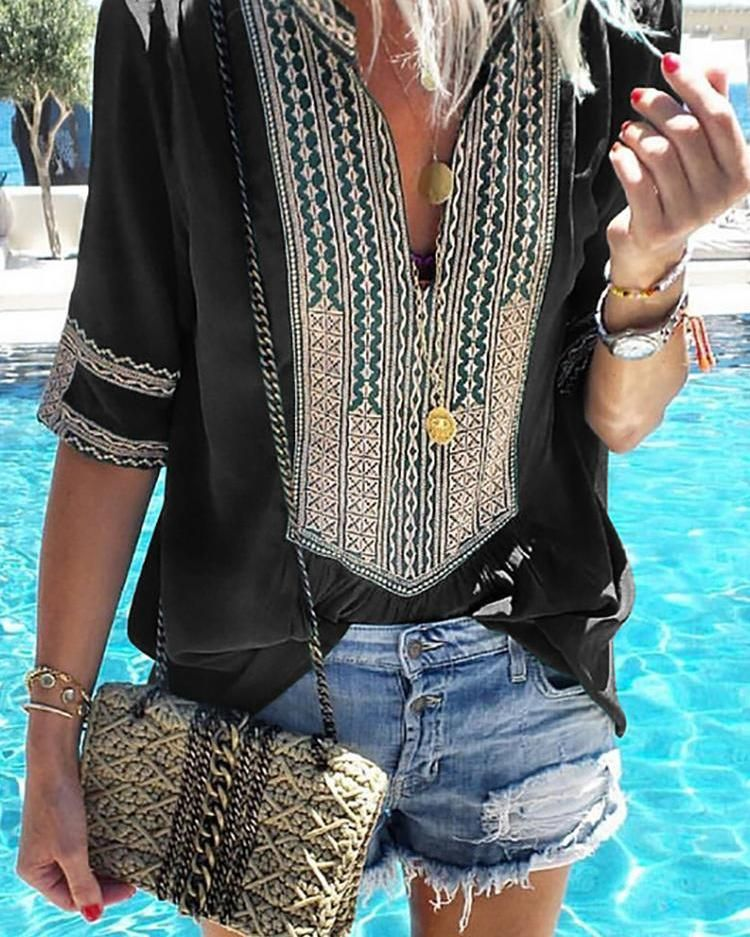 Ethnic Print Splicing V-Neck Casual Blouse