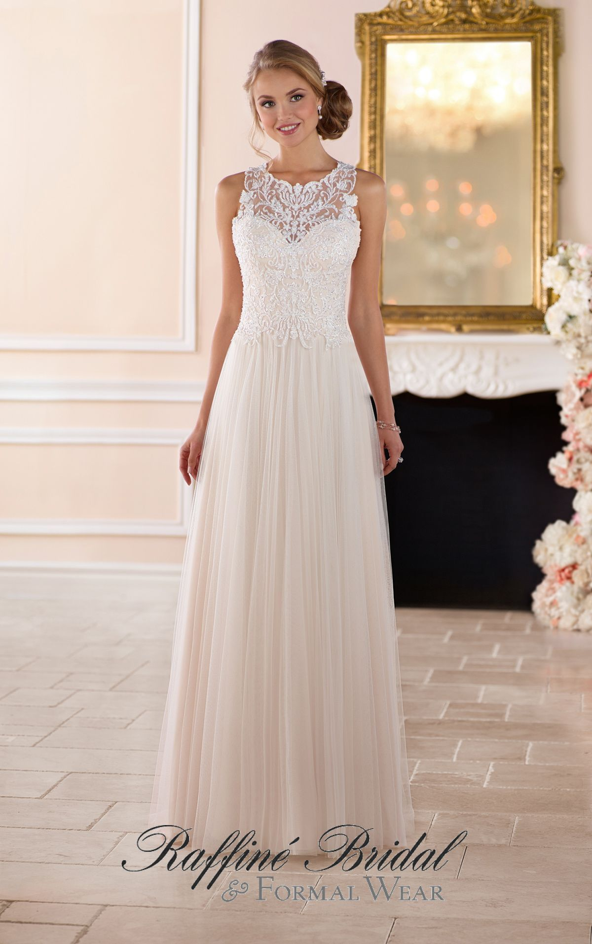 Stella York #6284 - This high neck wedding dress with lace back from ...