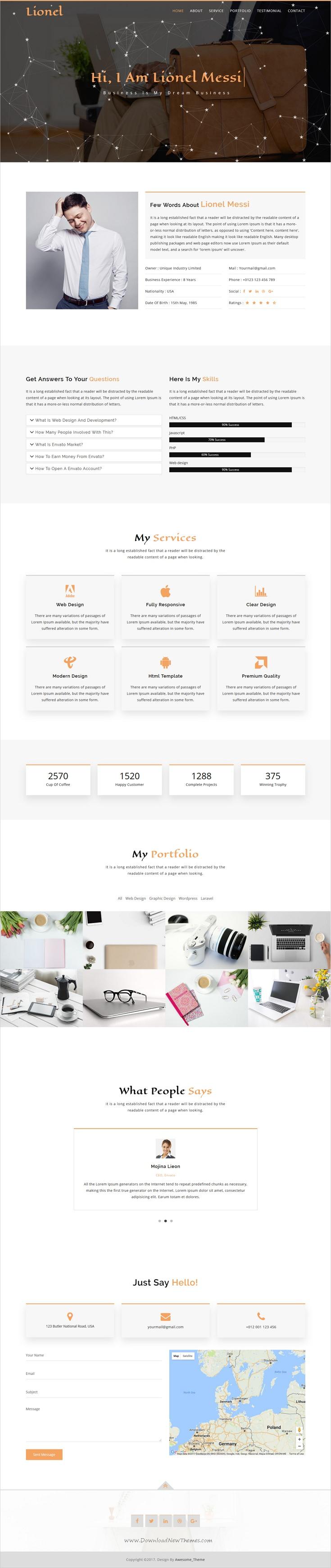 Lionel personal portfolio html5 template html5