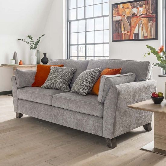 Living Room Design Ideas 50 Inspirational Sofas: Carmela Fabric 2 Seater Sofa In Silver With Wooden Legs