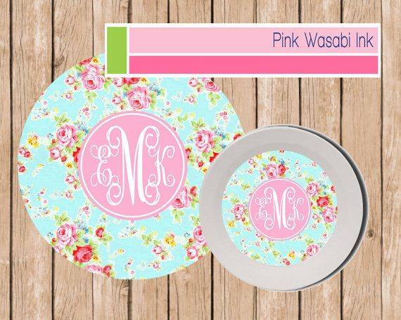 Personalized Plate and Bowl Set by Pink Wasabi Ink  sc 1 st  Pinterest & Personalized Plate and Bowl Set Monogrammed Melamine Dinnerware ...