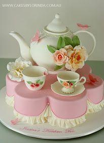 Lovely tea set decoration cake. A little Polkadot: Cakes by Lorinda...