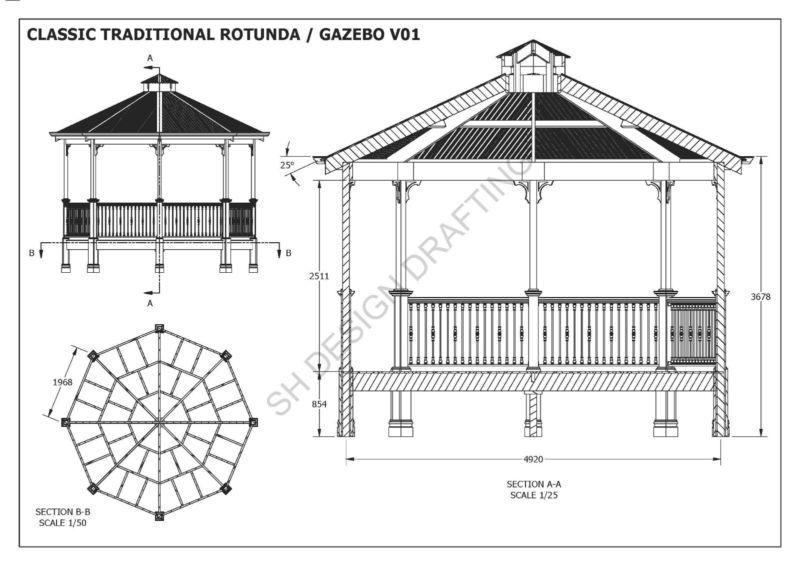 Classic Rotunda Gazebo Unique Design V1 Full Building Plans In 3d And 2d Ebay Gazebo Building Plans Gazebo Construction