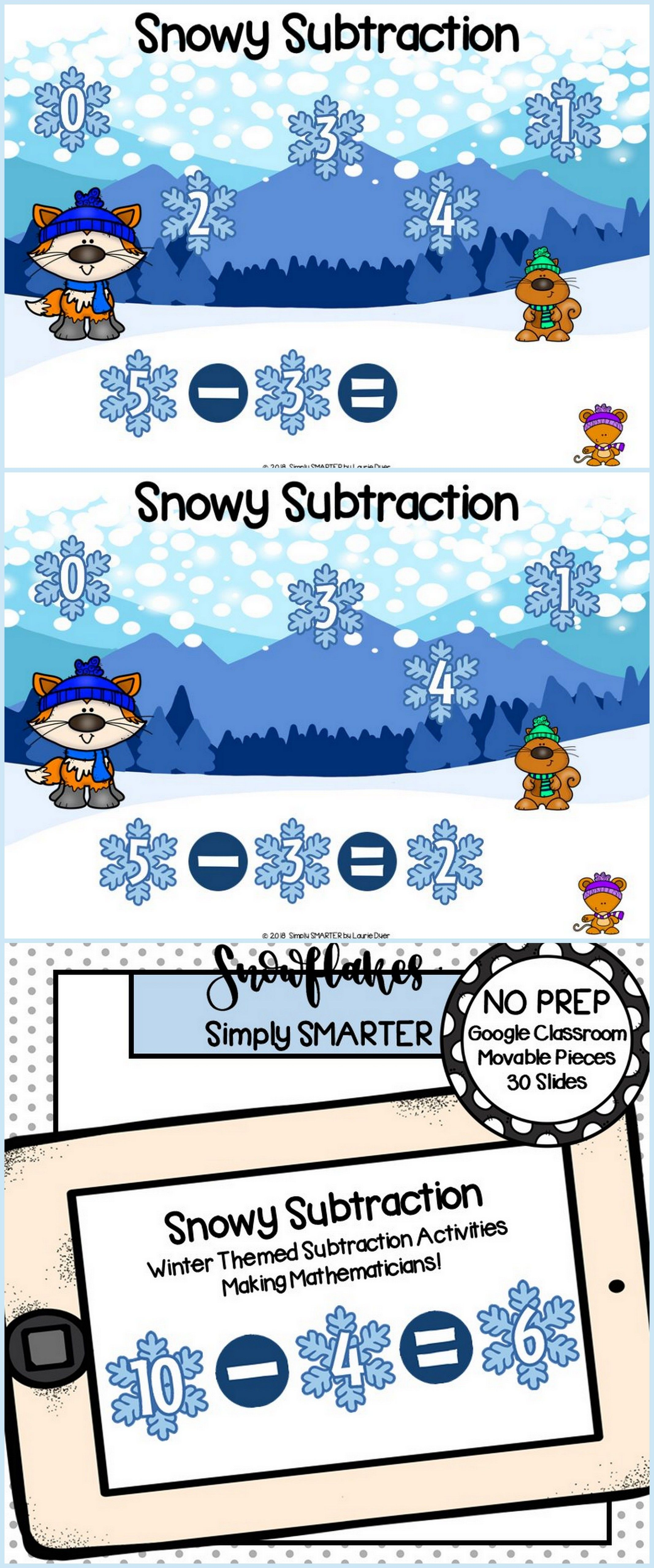 Winter Themed Subtraction Activities For Classroom