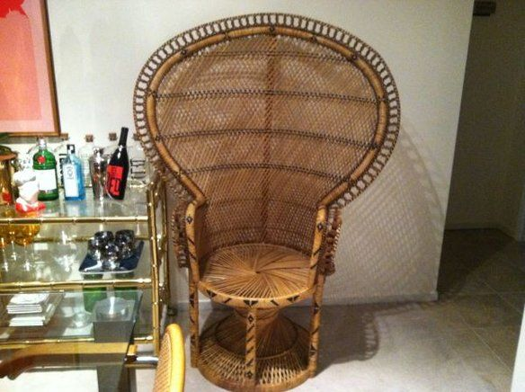 Large 1970u0027s Vintage Wicker Peacock Fan Chair U2014 Fixed Price $80