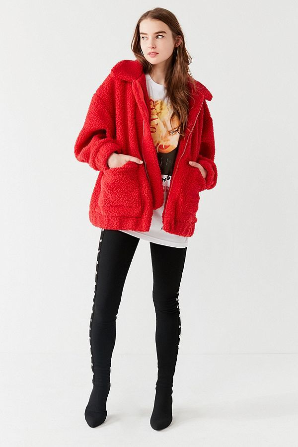 Slide View: 3: I.AM.GIA Pixie Red Teddy Coat | Teddy coat ...