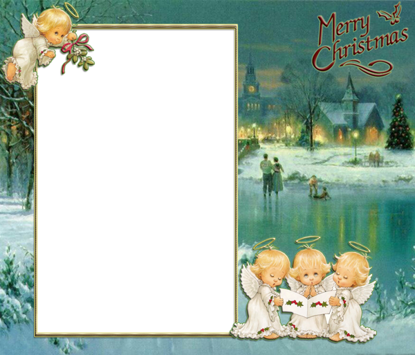 transparent angels christmas retro png photo frame