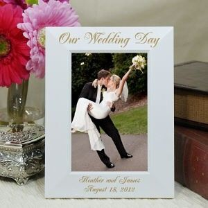 Personalized Engraved Wedding Day White Wood Picture Frame