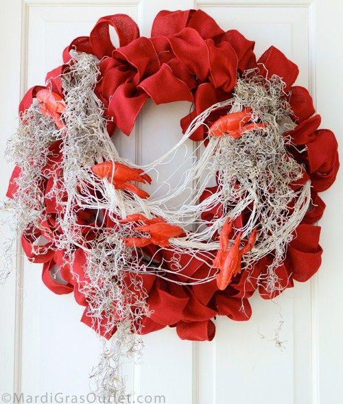 crawfish boil cajun louisiana wreath spanish moss netting red burlap wreath