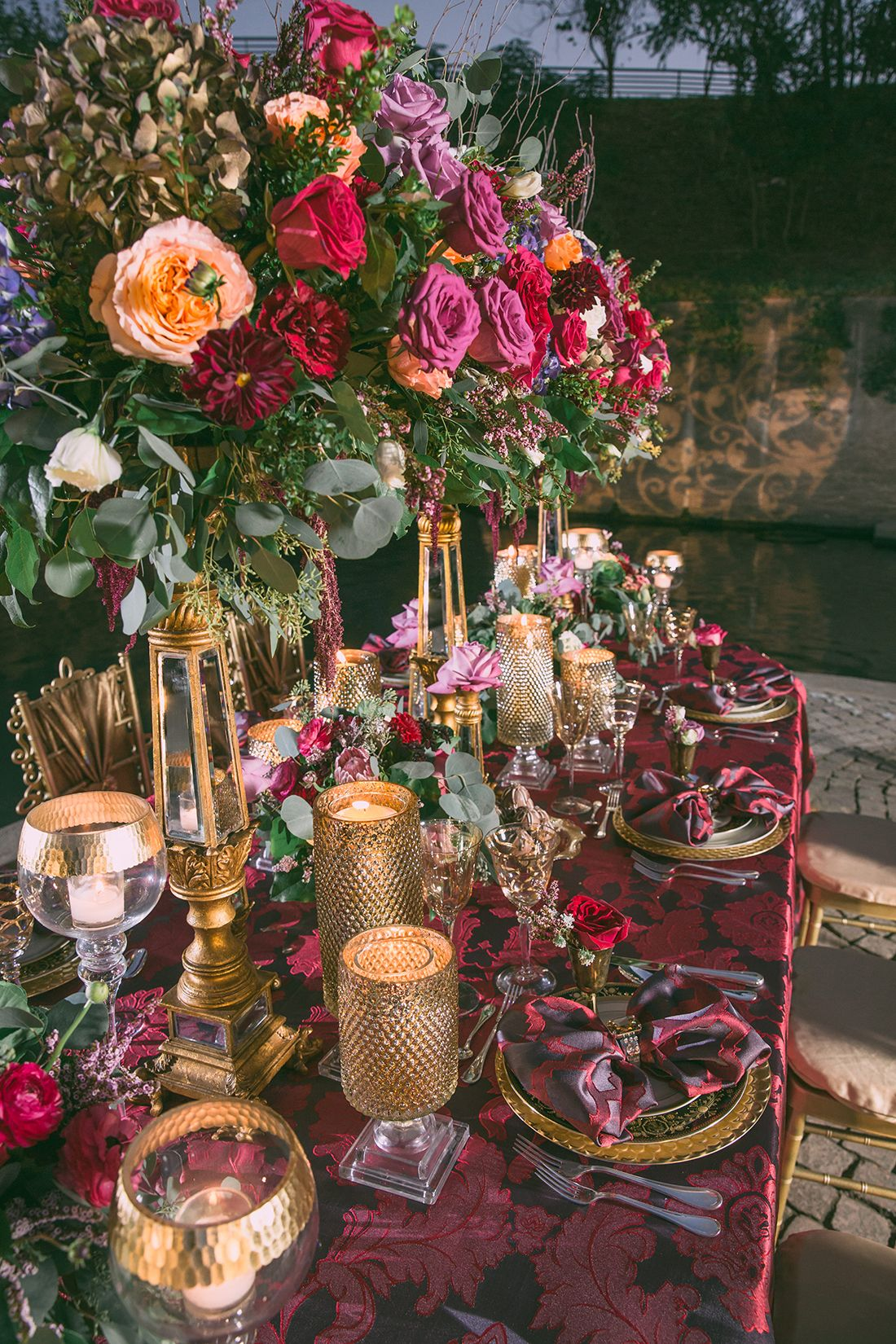 Modern Vintage Deep Jewel Tones Burgundy & Gold