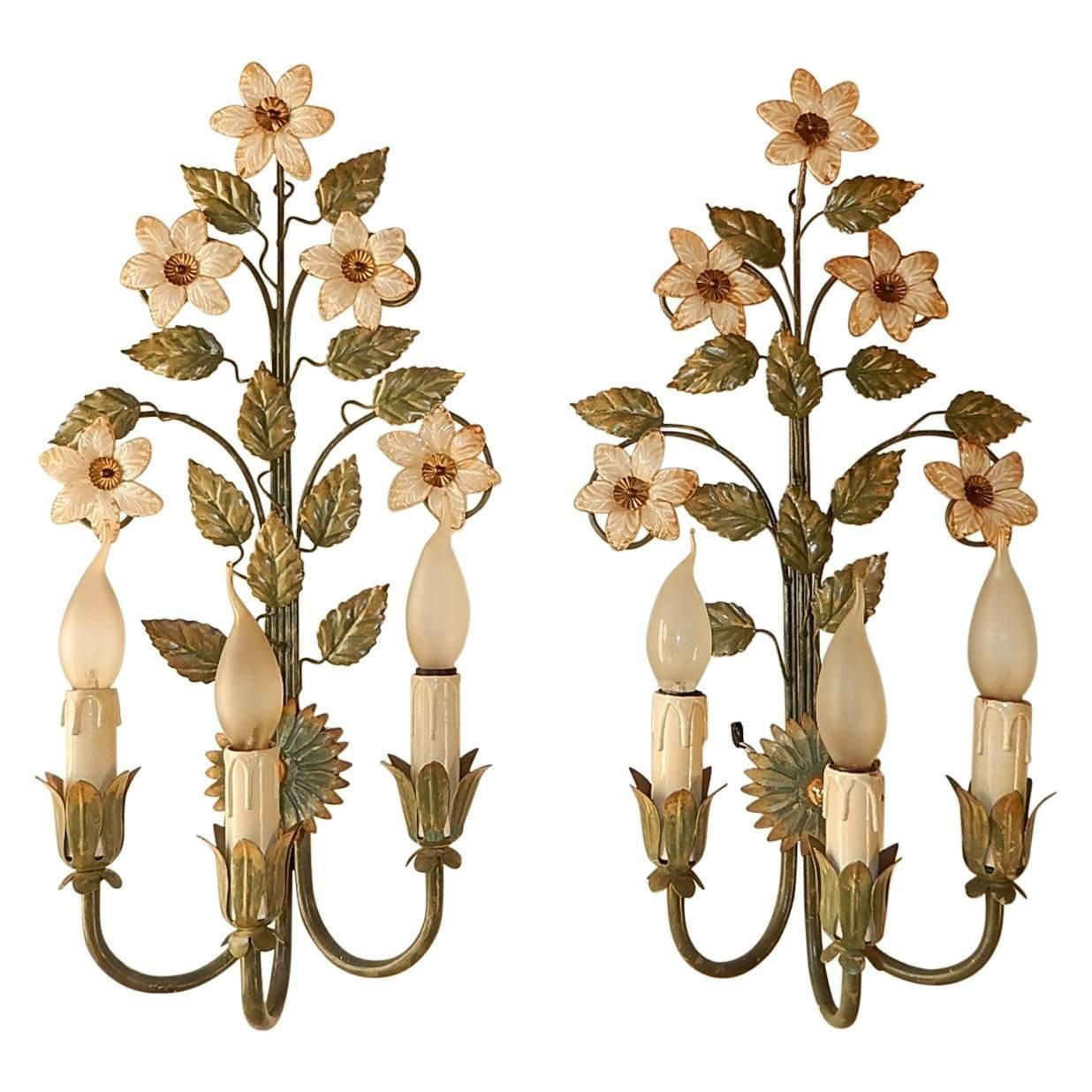 1950 Tole Three-Light Murano Flowers Sconces | Sconces ... on Candle Wall Sconces With Flowers id=47834