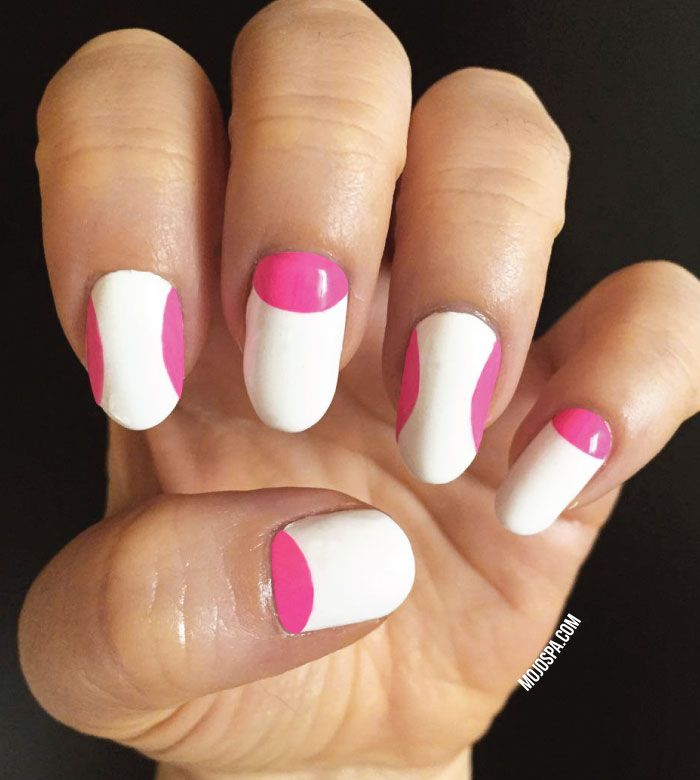 Mojo Spa™ | Fashion Wednesday: #nails inspired by #fashion #reverse #manicure #nail #nailart #art #pink #white #summer #nails