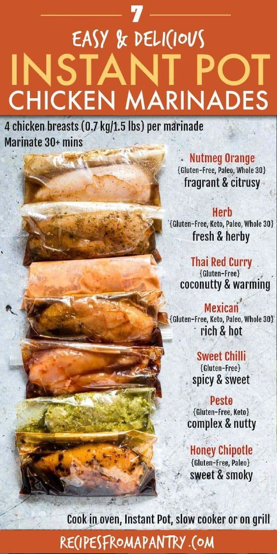 The BEST and EASIEST Chicken Marinades are on this list! The chicken breast marinade recipes include Nutmeg Orange Marinade, Herb Marinade, Thai Red Curry Marinade, Mexican Marinade, Sweet Chilli Marinade, Pesto Marinade and Honey Chipotle Marinade! All are gluten-free marinades and many are keto and Paleo as well. Cook them in the Instant Pot, oven, grill or slow cooker. #chickenmarinades #chicken #chickenmarinaderecipes #chickenbreast #marinades #mealprep #freezer #chickenmarinade #instantpotc #instantpotchickenrecipes