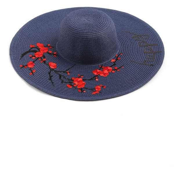 Flower Embroidery Wide Brim Straw Beach Hat (€13) ❤ liked on Polyvore  featuring 0ed68711358